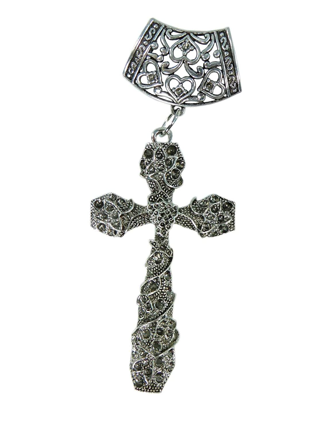 gothic cross scarf pendant bail slide set. Jewelry finding accessories for DIY jewelry scarf necklace.