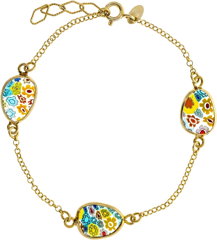 Córdoba Jewels | Plata de Ley 925 bañada en Oro. Diseño Tres Piedras Murano Oro