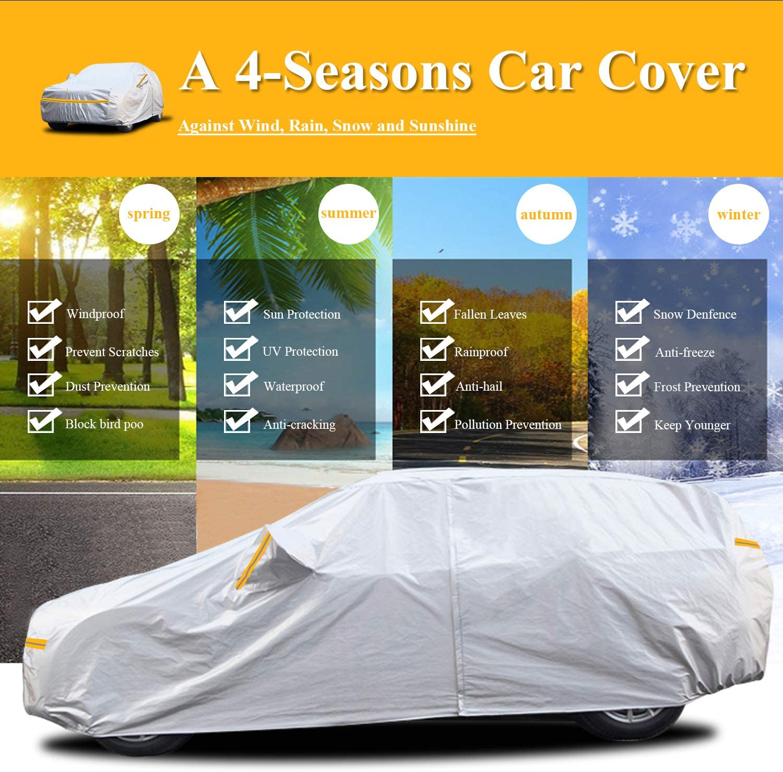 Funda/Coche/Exterior/Impermeable Cubierta Coche 6 Capas Universal Protector Solar Resistente Nieve para Hatchback con Cremallera Longitud hasta 450cm