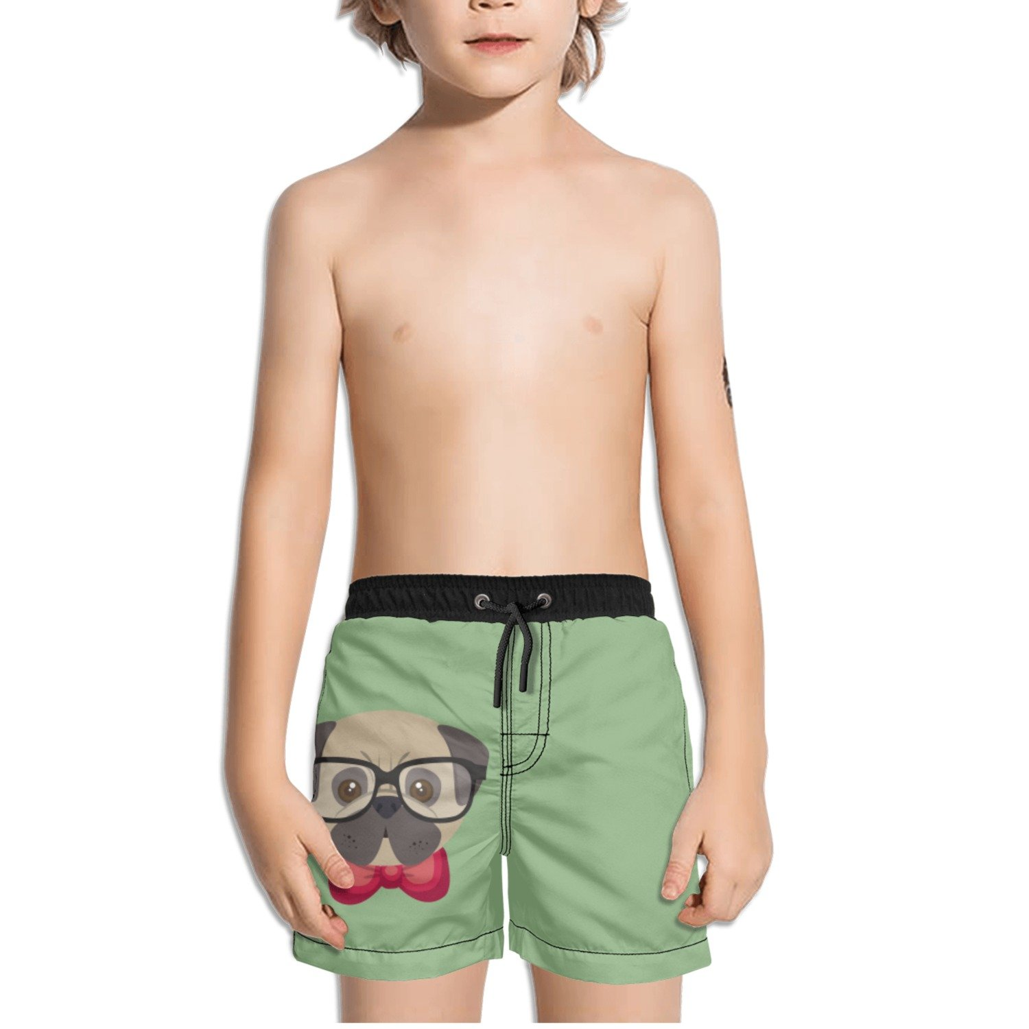 Juliuse Marthar Pug Gifts Fashionable Swim Trunks Quick Dry Beach Board Shorts for Boys