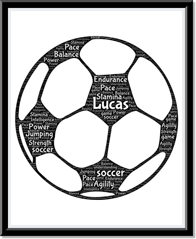 Soccer bedroom Wall Art for Boys and Girls, Personalized Soccer Ball Art Print gifts, Soccer Birthday Gifts, Word Art Typography of Soccer Ball,Custom Soccer poster for Wall Decor…
