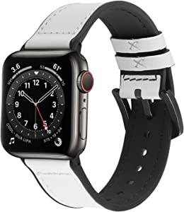 Vintage Apple Watch Band, Fullmosa Meex Silicone Watch Strap with Leather, Compatible for iWatch Series SE/6/5/4/3/2/1, 38mm 40mm 42mm 44mm, White + Black Hardware 40mm 38mm