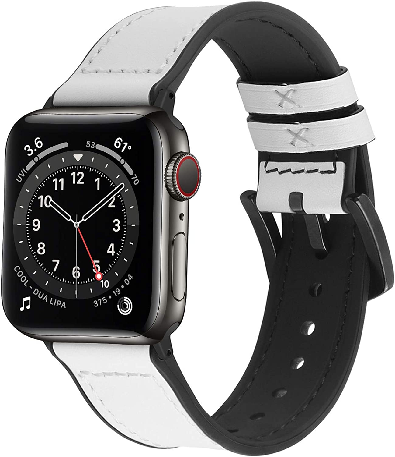 Vintage Apple Watch Band, Fullmosa Meex Silicone Watch Strap with Leather, Compatible for iWatch Series SE/6/5/4/3/2/1, 38mm 40mm 42mm 44mm