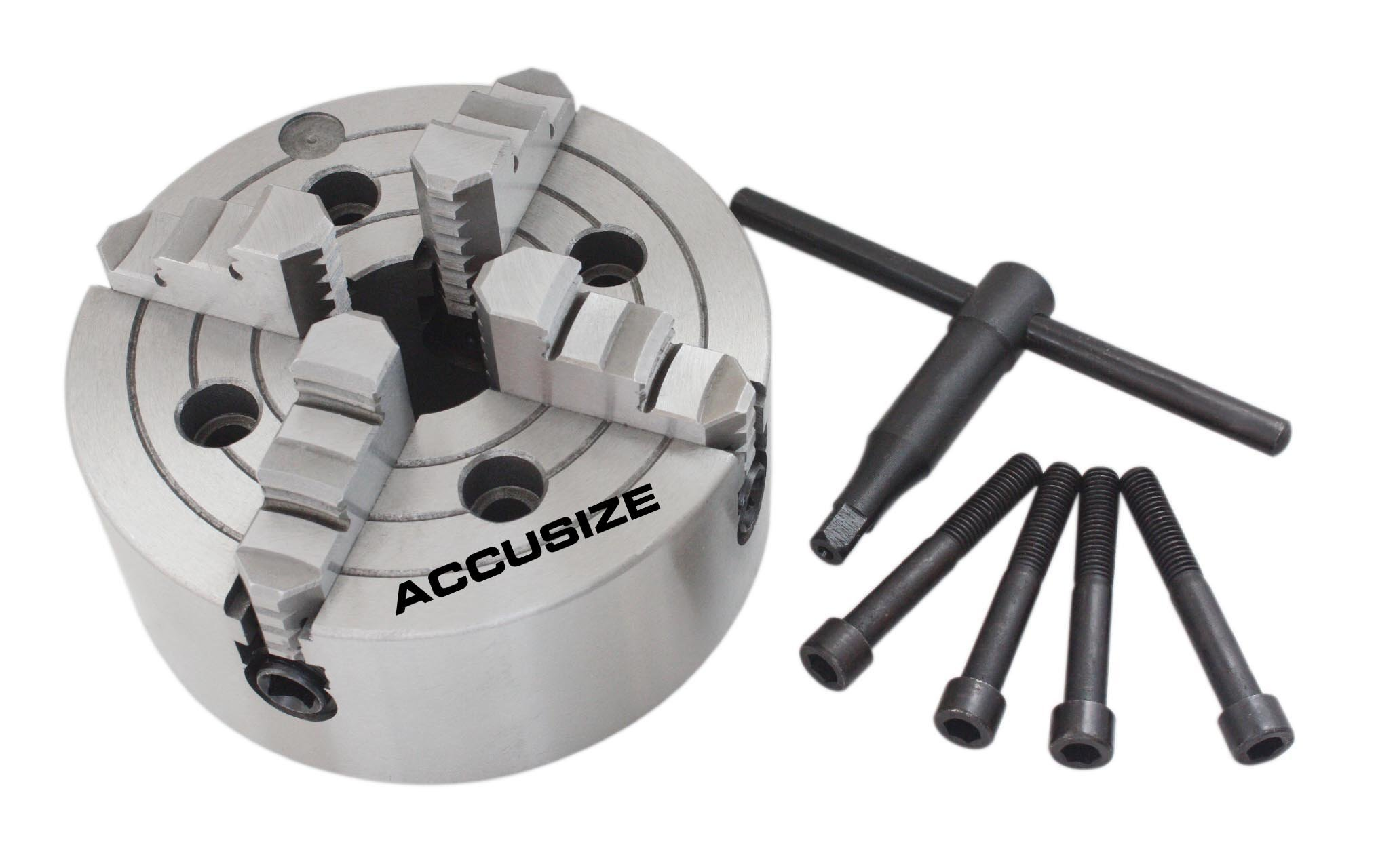 AccusizeTools - 10''/250mm 4-Jaw Independent Lathe Chuck, Plain Back, #0557-0010 by Accusize Industrial Tools