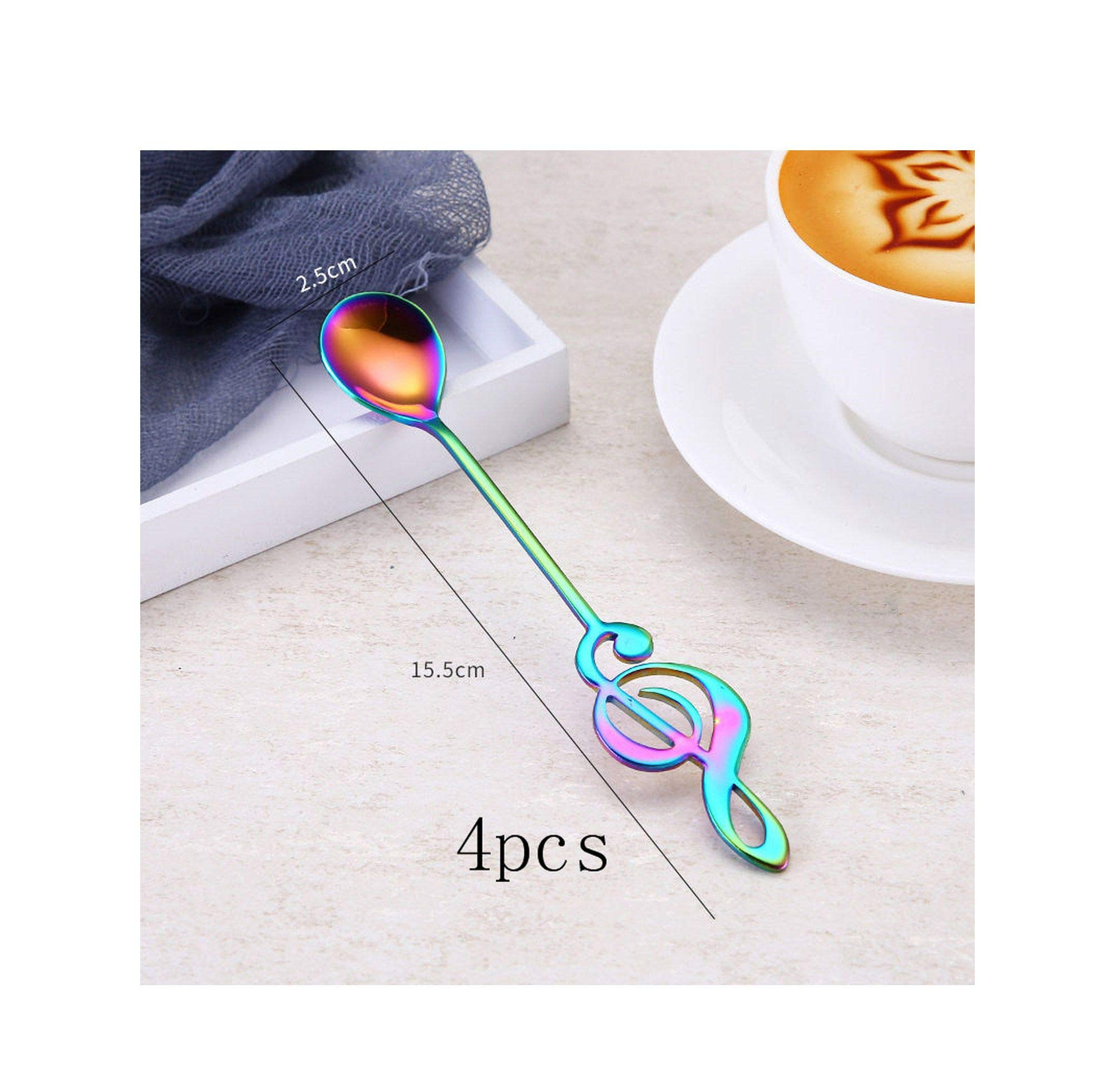 FAT BIG CAT 4Pcs/Set Musical Note Shaped Coffee Spoon Coffee Stirring Scoop Stainless Steel Milk Tea Drink Cafe Scoop,Colorful-4pcs