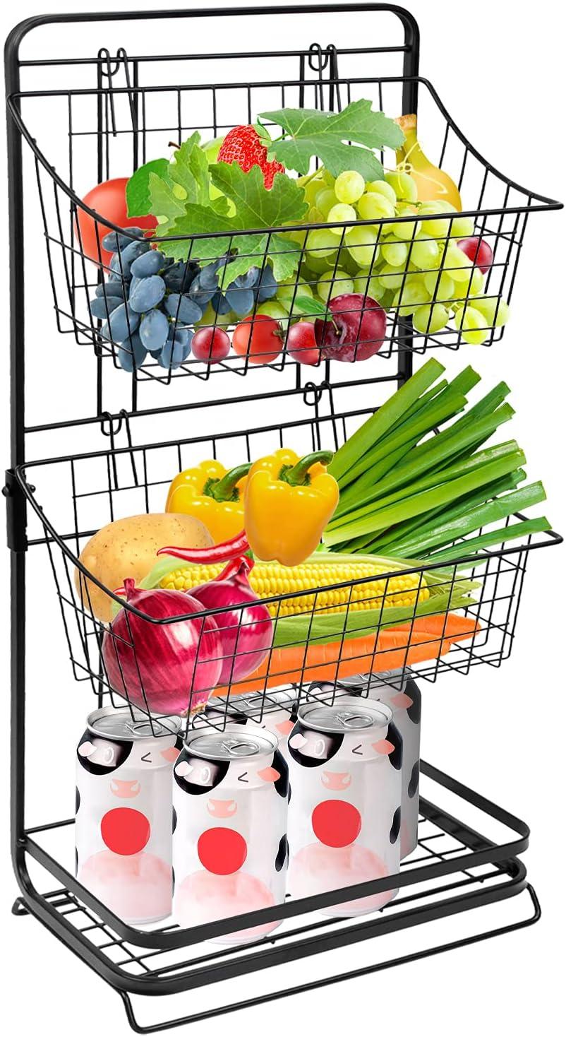 3-Tier Metal Fruit Basket Stand for Kitchen, LASZOLA Mini Countertop Multipurpose Storage Rack Removable Hanging Basket Organizer for Vegetables, Household Items, Toiletries (Black)
