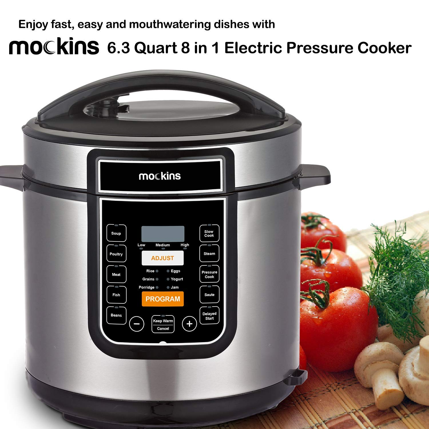 Mockins 6 Liter 8 in 1 Electric Pressure Cooker with 16 Functions Including Rice Cooker | Slow Cooker | Steamer | Yogurt Maker | and More