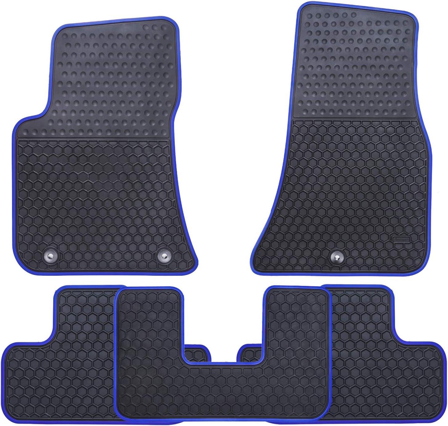 Ucaskin Car Floor Mats Custom Fit for Dodge Challenger 2016 2017 2018 2019 Odorless Washable Rubber Foot Carpet Heavy Duty Anti-Slip All Weather Protection Car Floor Liner-Blue
