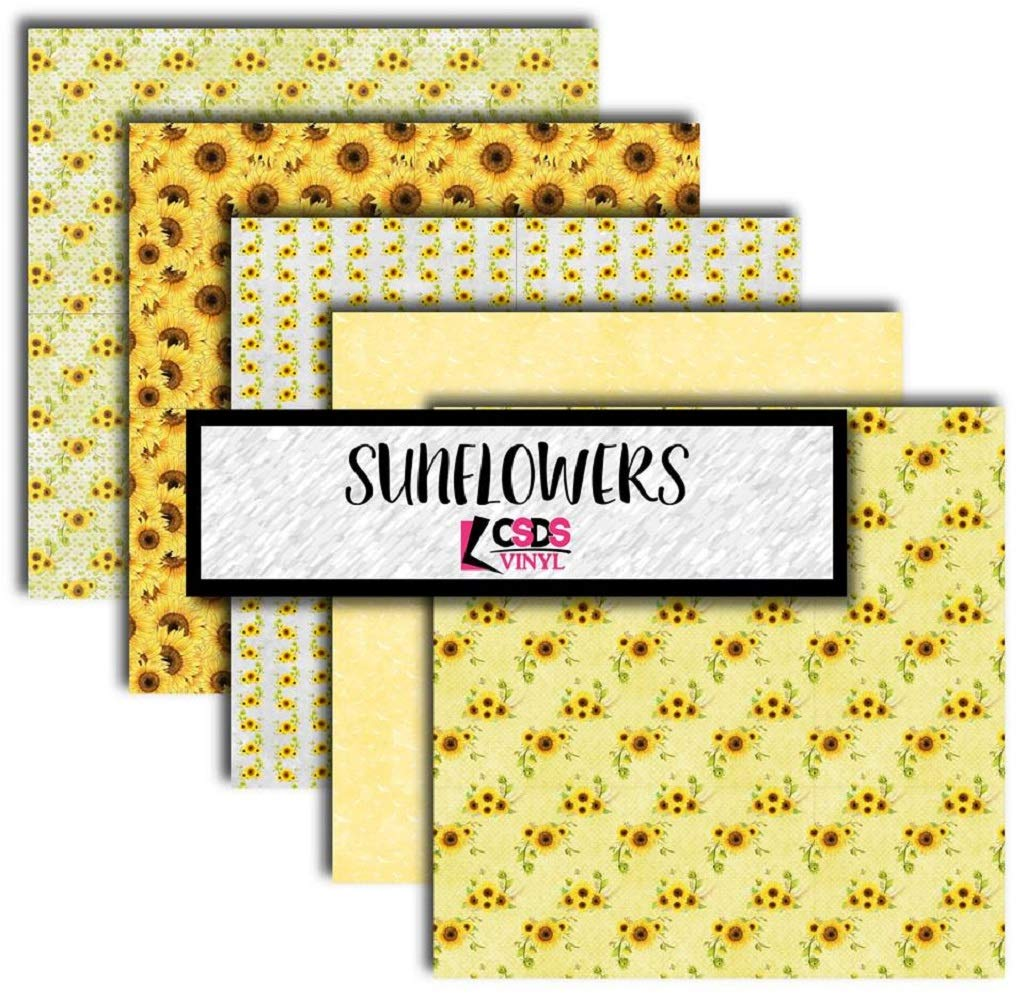 Sunflower Multipack Vinyl Bundle CSDS Adhesive Vinyl Printed Vinyl Yellow Sunflower Patterned Adhesive Vinyl Printed Heat Transfer Vinyl Flower Printed HTV Patterned Vinyl (Heat Transfer Vinyl)