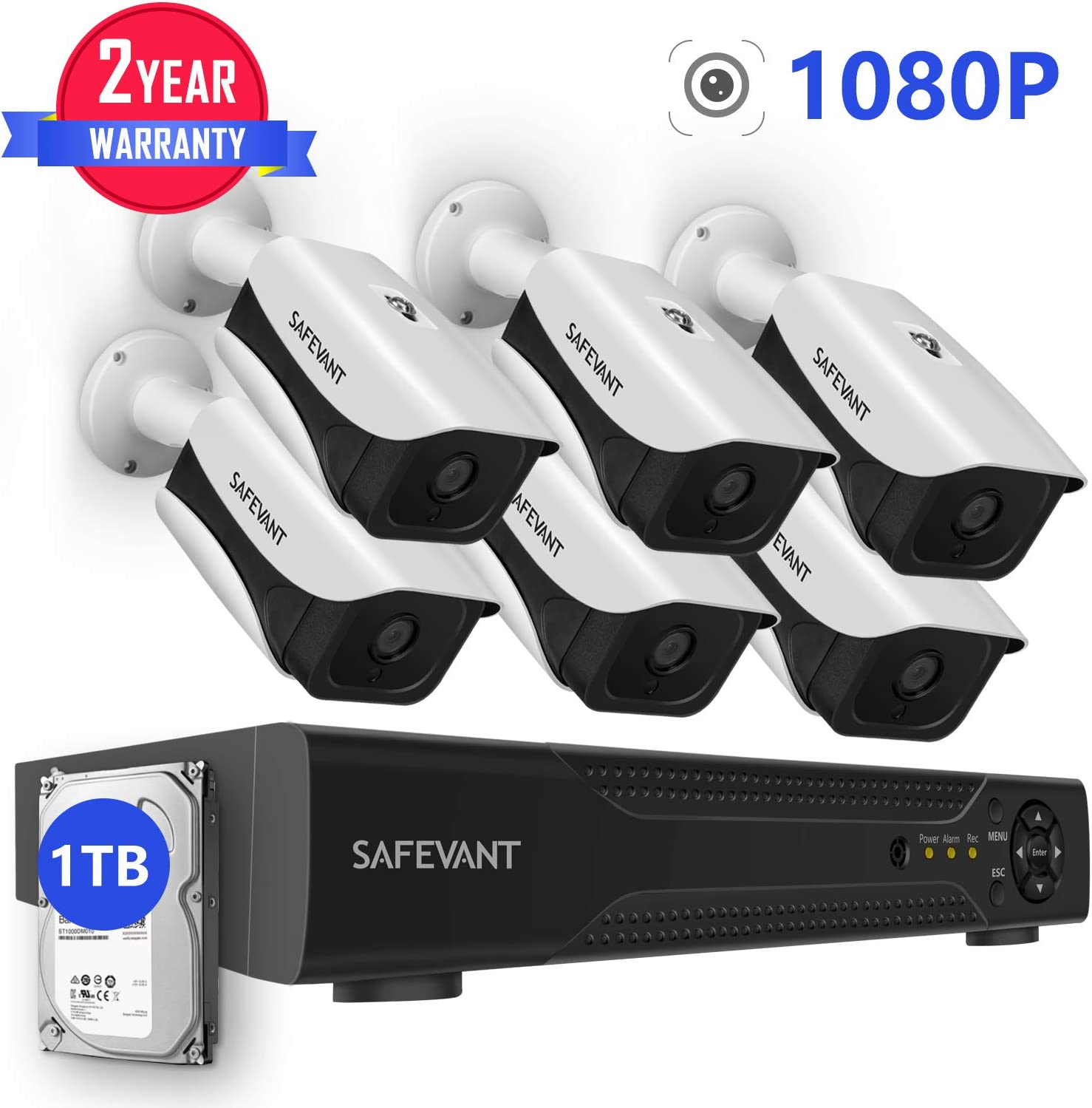 1080P Security Camera System with 1TB Hard Drive,SAFEVANT 8CH DVR Kits with 6PCS 2.0MP Outdoor Indoor CCTV Cameras with Night Vision