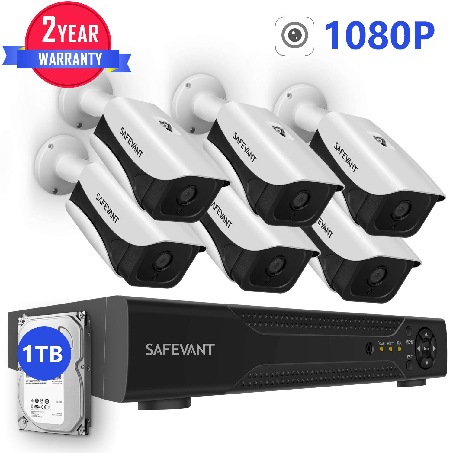 6 Camera Security System with 1TB Hard Drive,SAFEVANT 8CH DVR Kits 1080P 2.0MP Outdoor Indoor CCTV Cameras with Night Vision by SAFEVANT