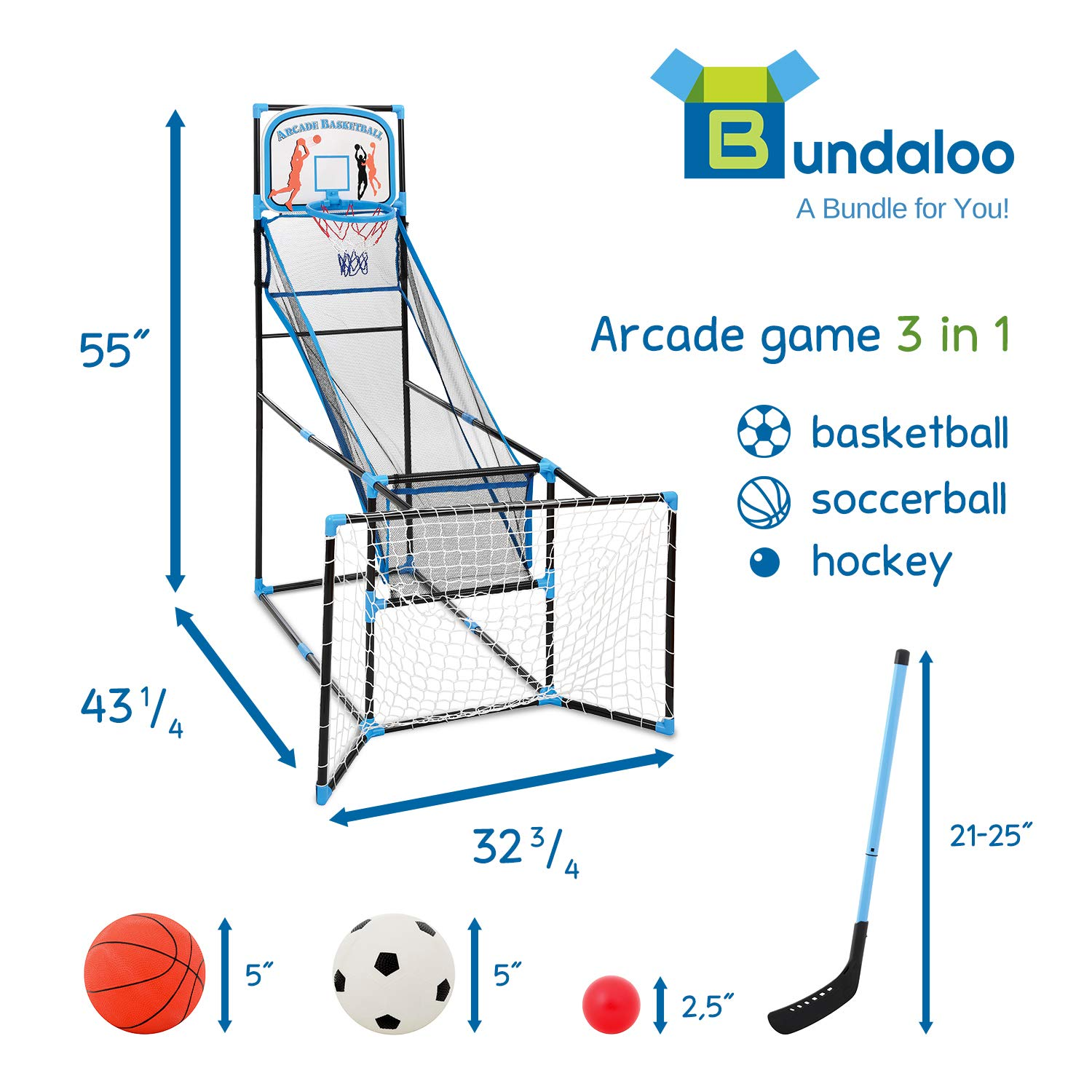 Bundaloo 3 in 1 Arcade Game | Basketball, Soccer, and Hockey Kids Toys | Fun Outdoor and Indoor Ball Games for Boys, Girls, Toddler | Includes 3 Balls, Backboard Hoop, Net Goal, Stick, and Air Pump by Bundaloo (Image #2)