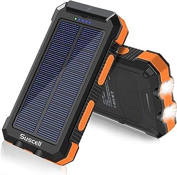 Suscell - PowerBank solar 25000 mAh, cargador solar y batería de repuesto externa, dos salidas USB de 5 V, linterna con 2 LED, impermeable, con ...