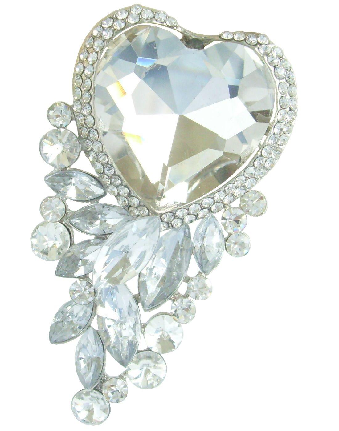 Sindary Wedding 2.56'' Rhinestone Crystal Love Heart Flower Brooch Pin Pendant BZ2079 (Silver-Tone Clear)