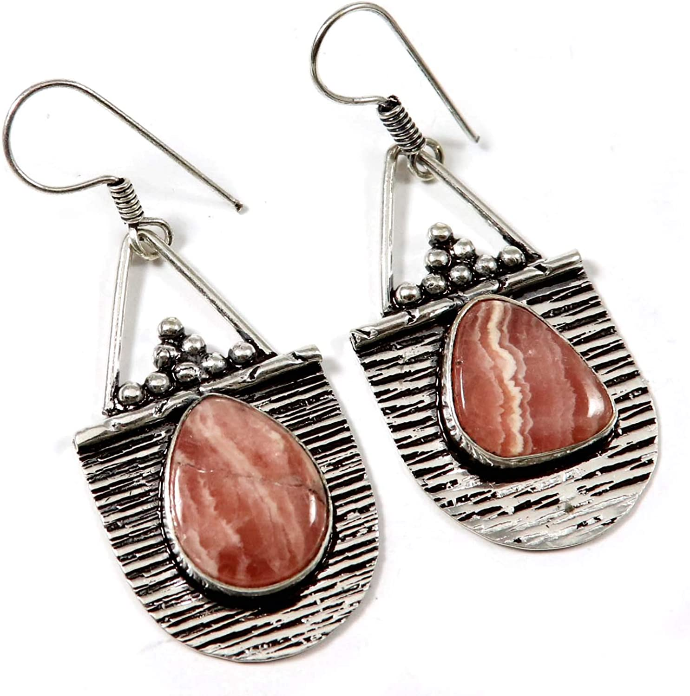 Goyal Crafts GEJ12 - Pendientes de rodocrosita con gemas naturales chapados en plata