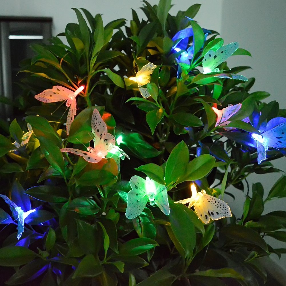 Fence Yard Halloween,Tree Multicoloured Home Holiday cuzile 12 pcs Solar Powered Butterfly String Light Fairy Lights for Christmas Wedding,Patio Party Decoration