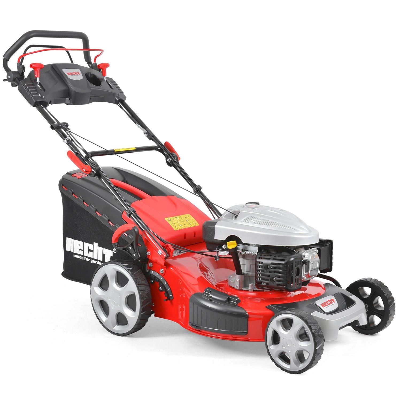 HECHT Benzin-Rasenmäher 5564 SX Benzin-Mäher (6 PS Motorleistung, 56 cm Schnittbreite, 7-fache Schnitthöhenverstellung 25-75 mm, 70 L Fangsack)