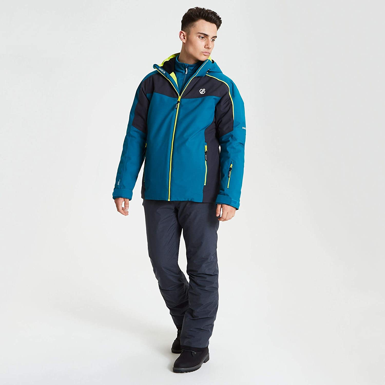 Dare 2B Motto Pant Waterproof /& Breathable High Loft Insulated Ski /& Snowboard Salopette Trousers with Integrated Snow Gaiters Uomo
