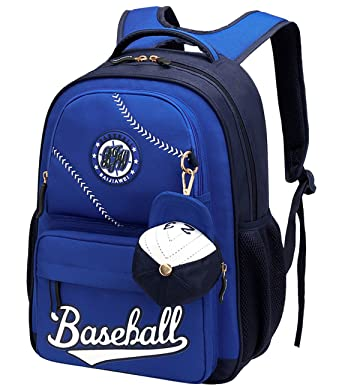 Baseball School Bag Water Resistant Nylon Backpack with Two Zipper Mini Cap for Student Girls Boys