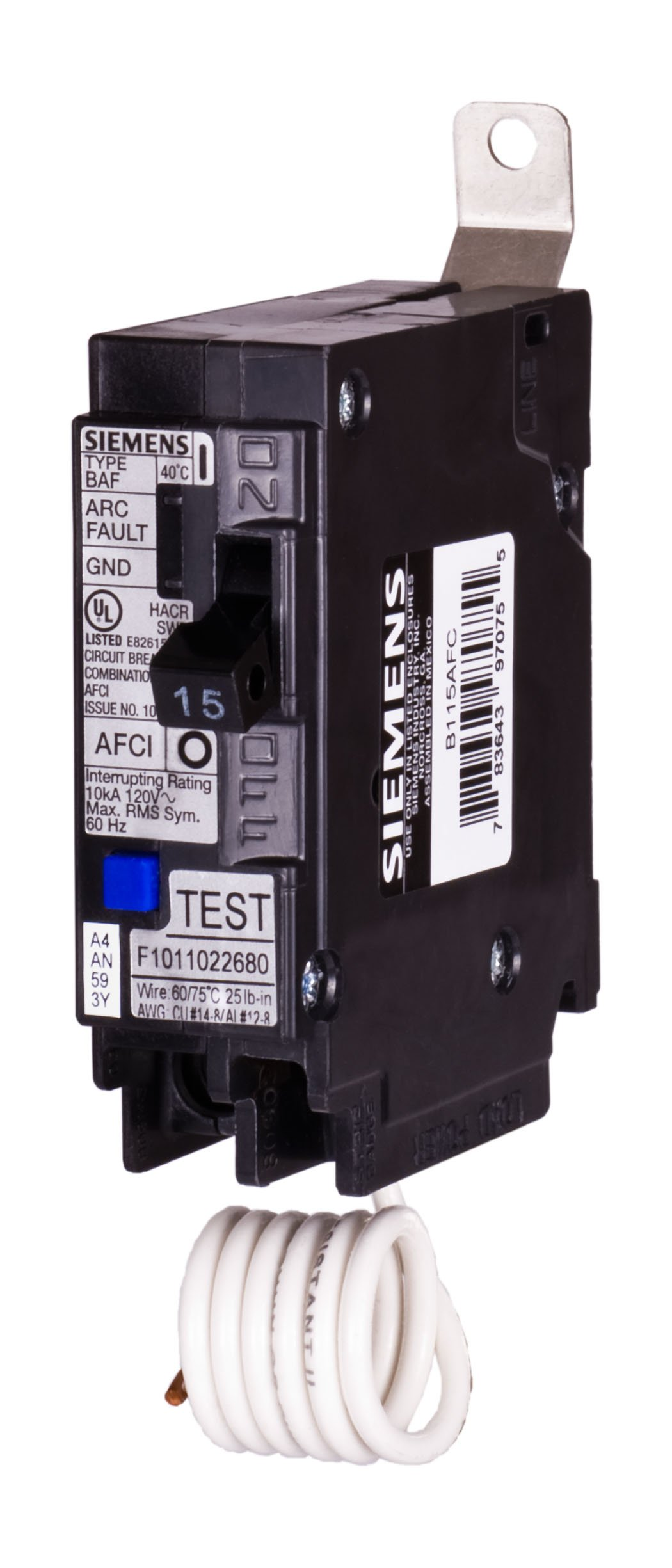 Siemens B115AFC 15-Amp Single Pole 120-Volt 10KAIC Bolt in Breaker