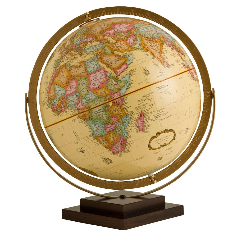 Replogle Globes Revolution Globe - 12 inch Antique Style Globe with Stand - Current & Updated with 1000's of Locations - Gyromatic Full Swing Movement - Decorative World Globe for Home & Office