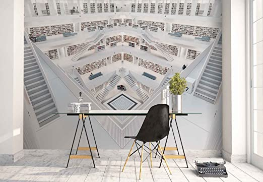 Papel Tapiz Fotomural - Biblioteca Interior Plantas Escalera Libros - Tema Arquitectura - L - 254cm x 184cm (an. x alto) - 2 Tiras - impreso en papel 130g/m2 EasyInstall - 1X-875123V4: Amazon.es: Bricolaje y herramientas