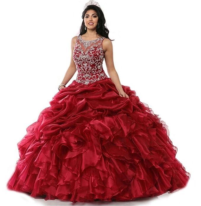 346f78b3bf magydre joya de la mujer Empire cuentas vestidos de novia quinceañera  Vestido de organza de largo  Amazon.es  Ropa y accesorios
