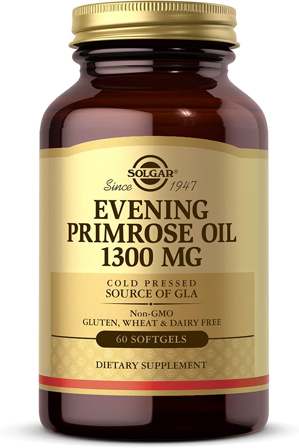 Solgar Evening Primrose Oil 1300 mg, 60 Softgels - Promotes Healthy Skin & Cardiovascular Health - Nutritional Support for Women - Non-GMO, Gluten Free, Dairy Free - 60 Servings: Health & Personal Care