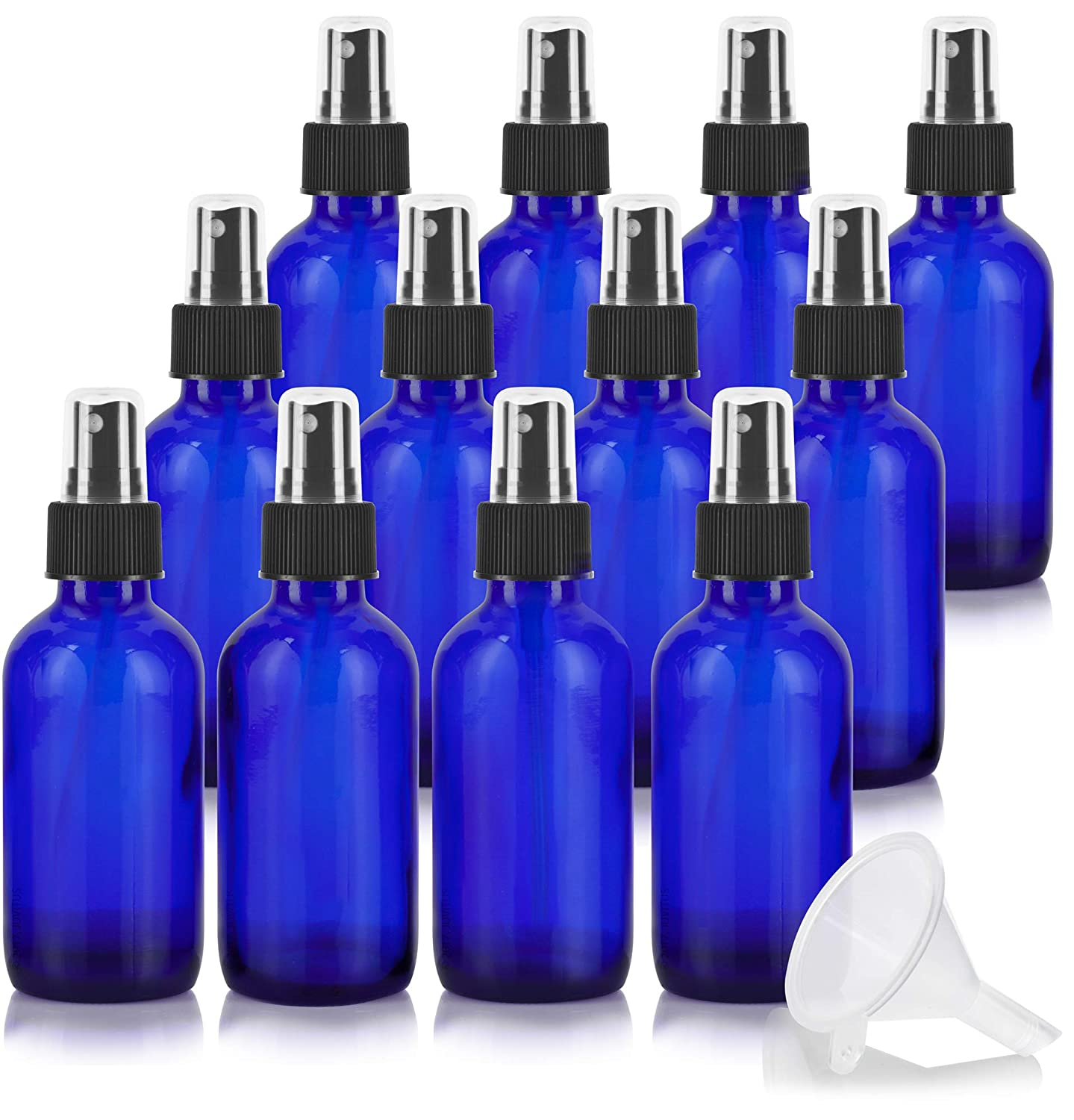 4 oz Cobalt Blue Glass Boston Round Fine Mist Spray Bottle 12 Pack Funnel for Essential Oils, Aromatherapy, Food Grade, bpa Free