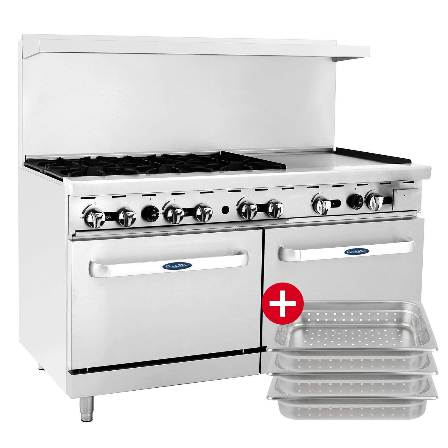 "ATOSA US Commercial CookRite Natural Gas Range 6 Burner Hot Plate with 24"" Manual Griddle 2 Standard Ovens 60"