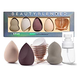 Beauty Sponge Set of 4 Pcs with Holder, Professional Soft Makeup Blender Latex Free Dry and Wet Use For Liquid Powder BB Cream and Sunscreen