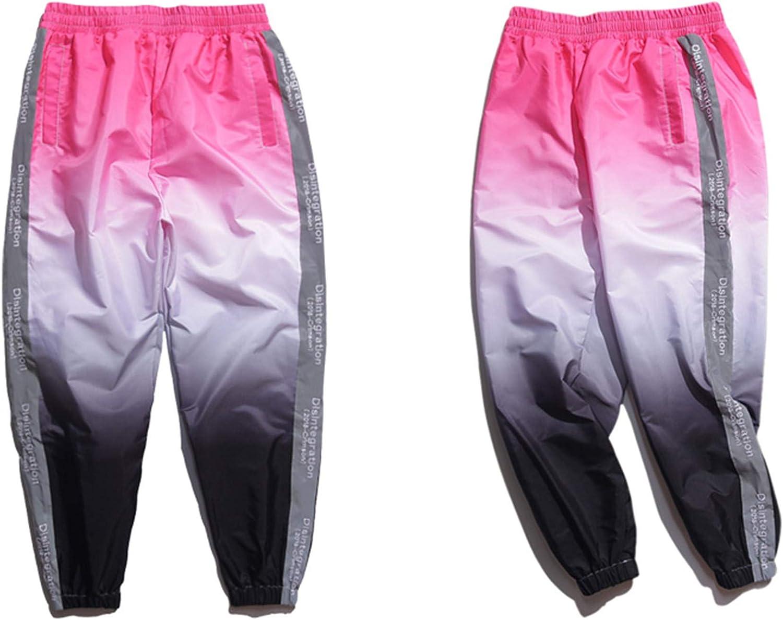 dontcareme Side 3M Reflective Fader Harem Pants New Men//Women Hip Hop Casual Track Joggers Pink M