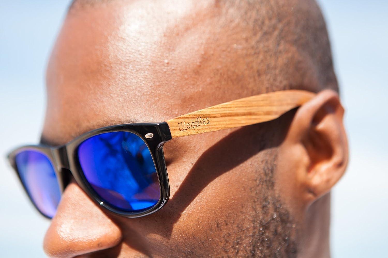 Woodies Zebra Wood Sunglasses with Blue Mirror Polarized Lens