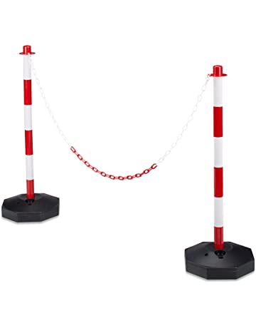Vislone Parking Barrier Chain Post Set with 10 m Plastic Chain and Sturdy Base