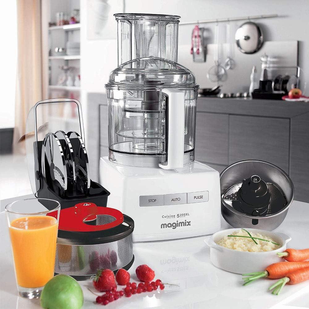 Magimix CS 5200 XL 1100W 3.6L Blanco - Robot de cocina (3,6 L, Blanco, Botones, 2 discos, 1100 W, 210 mm): Amazon.es: Hogar