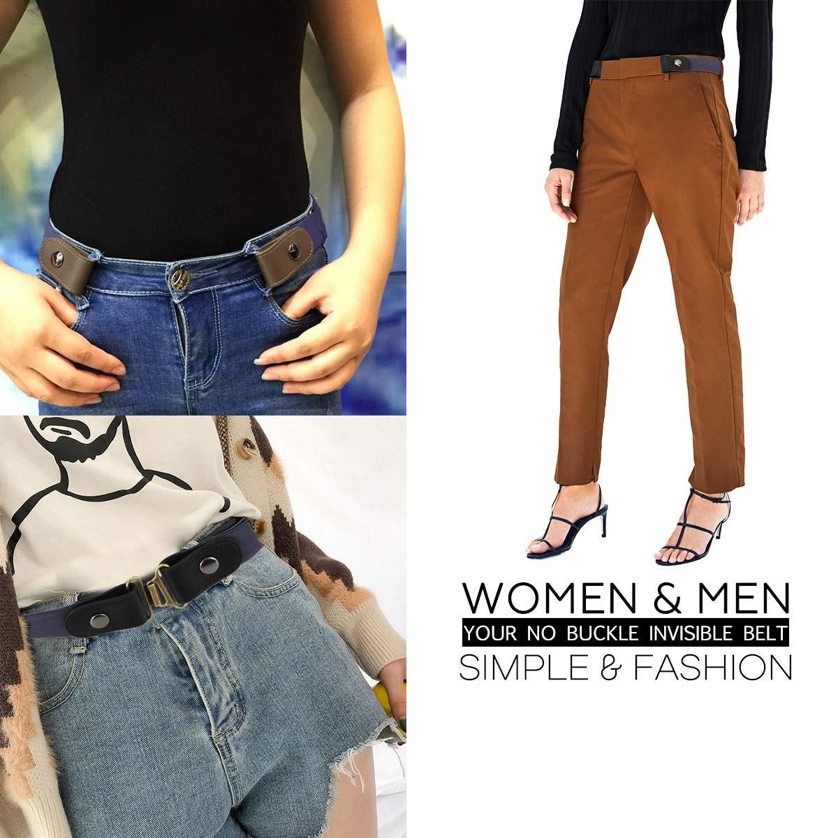Lalafancy Cinturón sin hebilla de los hombres de las mujeres Cómodo No Hebilla Cinturones elásticos Pantalones vaqueros Cinturones invisibles ...