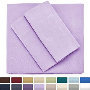 Cosy House Collection Premium Bamboo Sheets - Deep Pocket Bed Sheet Set - Ultra Soft & Cool Breathable Bedding - Hypoallergenic Blend from Natural Bamboo Fiber - 4 Piece - Cal King, Lavender