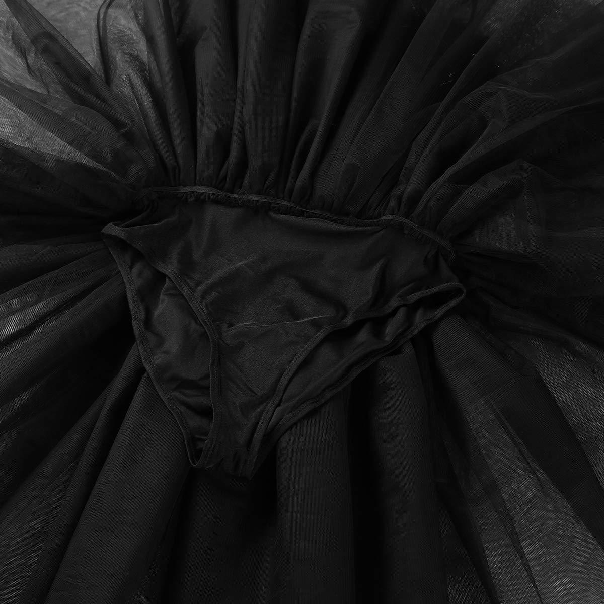 dPois Vestido de Cisne Mujer Maillot Danza Ballet Mallot con Falda Tul para Chica Adulto Dancewear Blanco//Negro