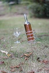 Extérieur-Pique-Nique-Jardin-Camping-Verre De Vin- Porte-Bouteille- Ensemble-Acier Inoxydable