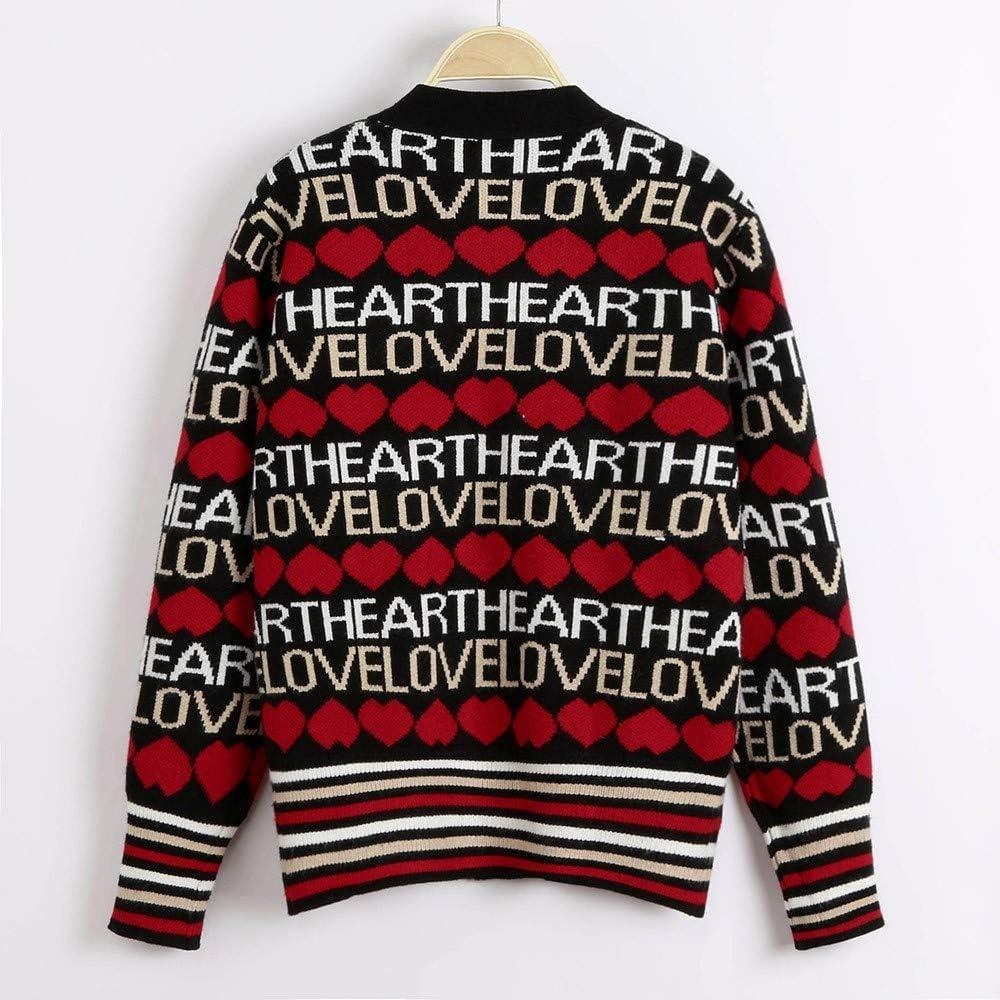 Women Winter Casual Warm V Neck Letter Print Button Knit Sweater Outwear Coat