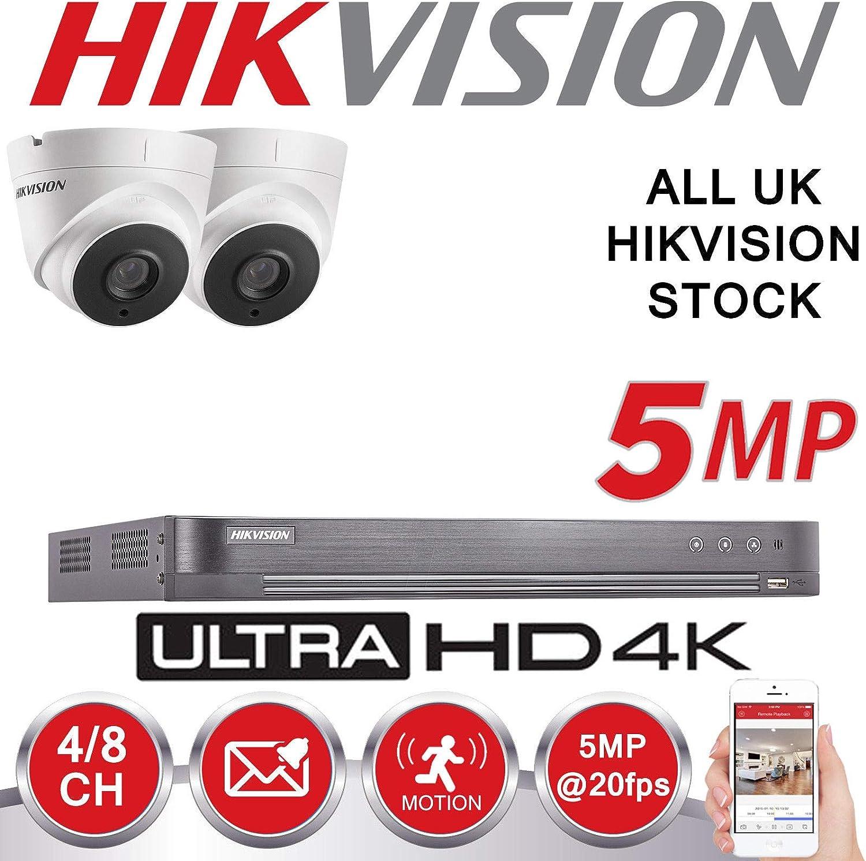 HIKVISION 5MP 4K UHD DVR 4CH HD Kit de Cámara de Vigilancia para Exterior - 2TB HDD