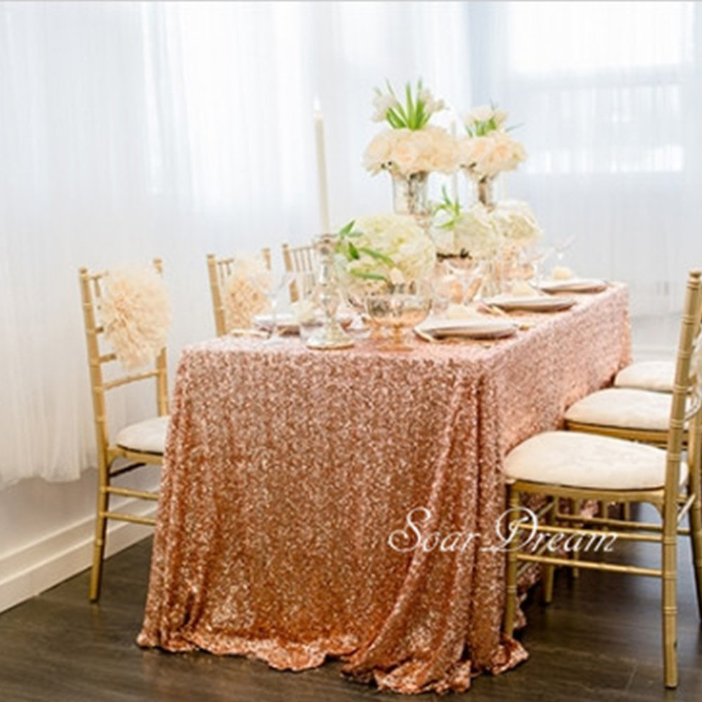 Sequin Table Clothes 50x102 inch Rose Gold Sequin Tablecloth Sequin Overlay Sparkle Table Decor for Wedding by SoarDream (Image #2)