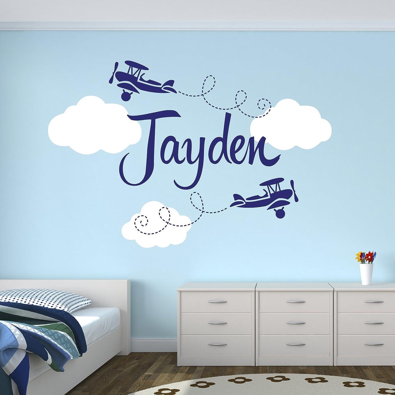 amazon com custom airplane name wall decal boys kids room decor