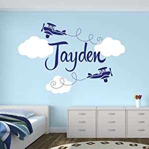 Custom Airplane Name Wall Decal - Boys Kids Room Decor - Nursery Wall Decals - Airplanes Wall Decors