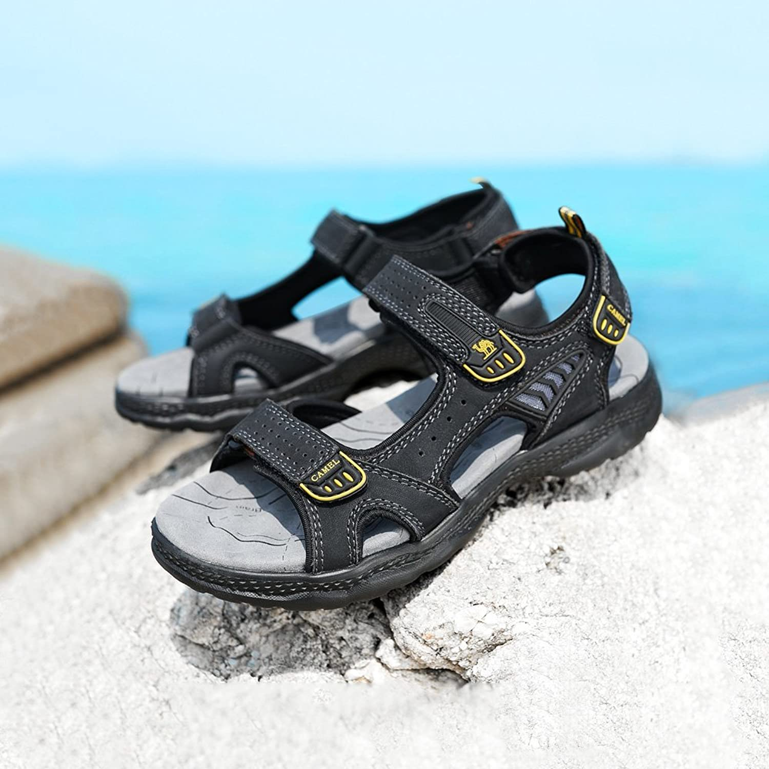 c2885d02231 CAMEL CROWN Mens Leather Sandals Comfortable Walking for Beach Treads Water  Summer Athletic Outdoor Hiking Shoes