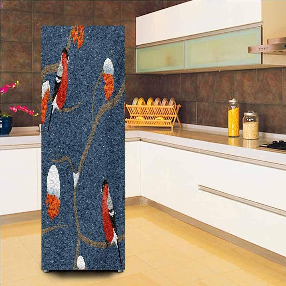 """3D Door Wall Fridge Door Stickers Mural,Winter Pattern with Snowy Tree Branches Orange Berries and Bullfinch Birds Vinyl Door Cover Refrigerator Stickers,24x59"""",for Refrigerator,Dark Blue Orange Red"""