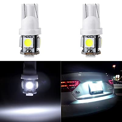 cciyu 194 Extremely Bright LED Bulbs 5-5050-SMD Light Lamp License Plate Light Lamp Wedge T10 168 2825 W5W White Pack of 2: Automotive