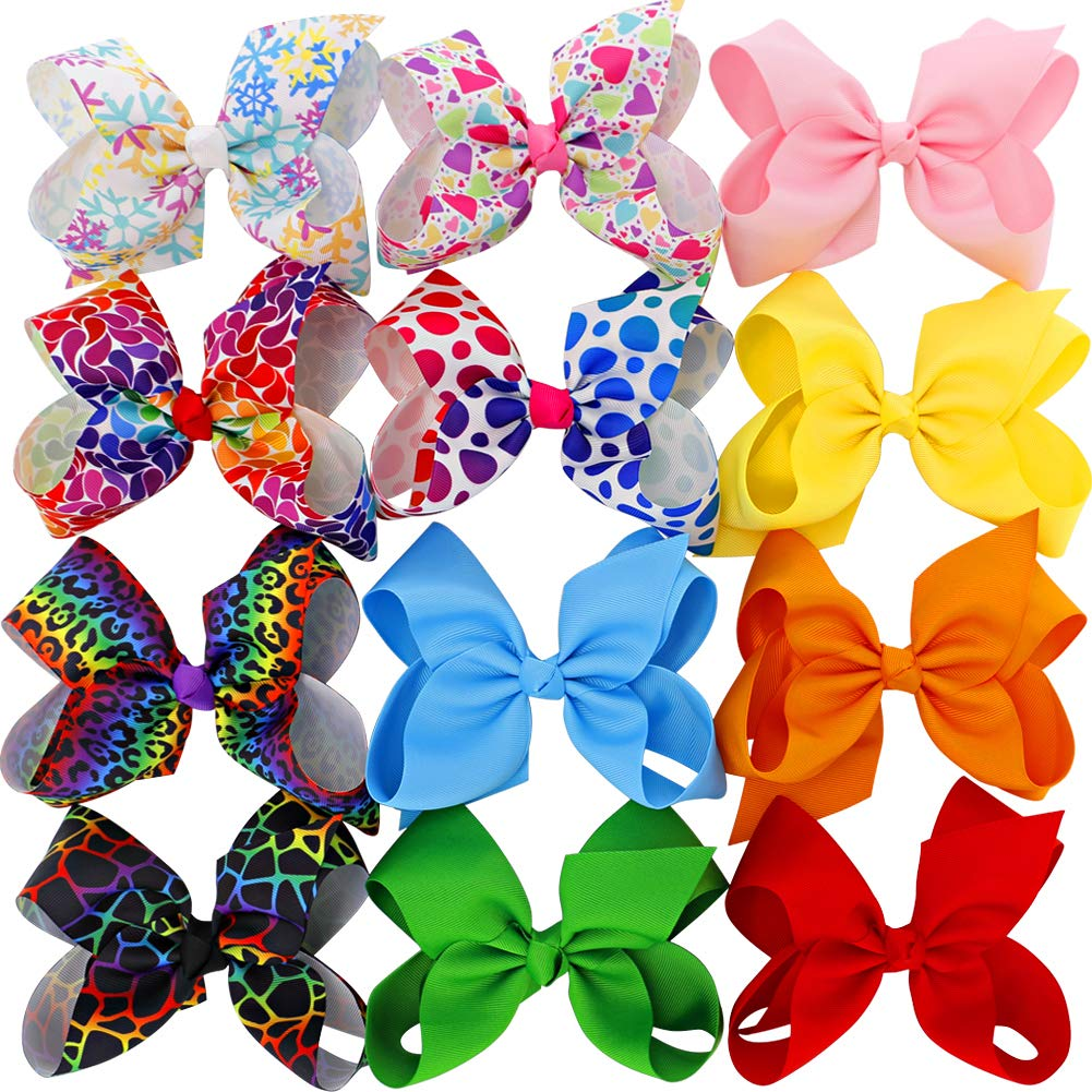 6 inches Big Large Grosgrain Ribbon Hair Bows Boutique Raibbow Hair Bow Clips For For Girls Teens Toddlers Kids Set Of 12