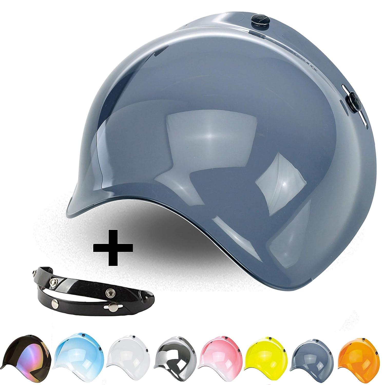 5d20af3a Bubble Visor 3 Snaps Flip-Up Jet Open Face Helmet Custom Adjustable  Mechanism 3 Heights Harley Biltwell Bell Dmd Bandit AFX Vintage Nolan Agv  Origin Cafe ...