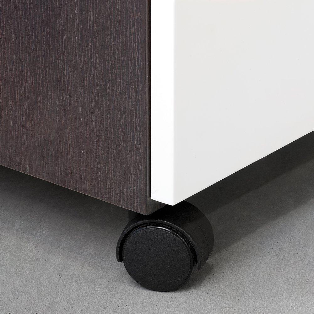 Emuca 2037817 Lote de 4 ruedas pivotantes negras para mueble sin freno di/ámetro 40mm con perno M8x12 y rodamientos de bolas